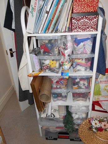 new sewing room old shelving