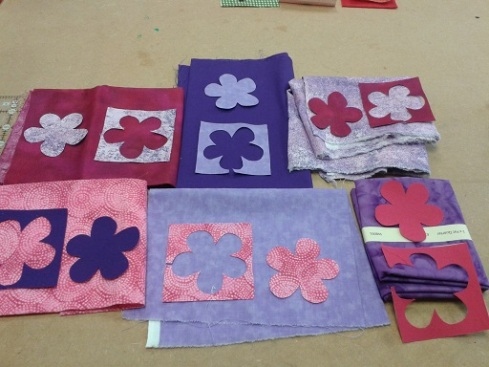 Quilt course - flowers on fabric