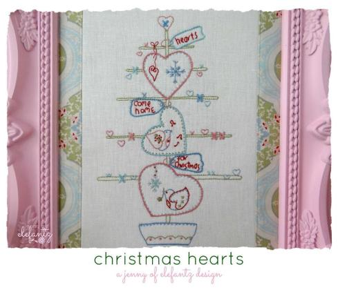 Elefantz Christmas Hearts stitchery