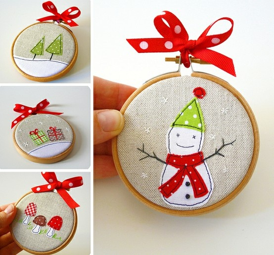 Embroidered Xmas ornaments