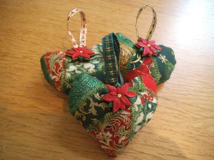 Patchwork Xmas Hearts