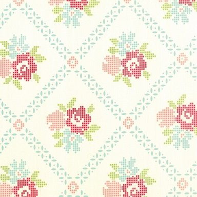 Vintage picnic cross stitch fabric