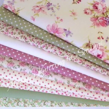 bundle-10-fat-quarters-cream-floral-Always Knitting and Sewing
