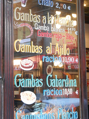 Madrid bars - gambas