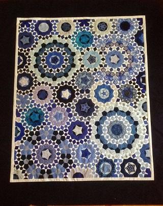 Millefiori quilt complete blue