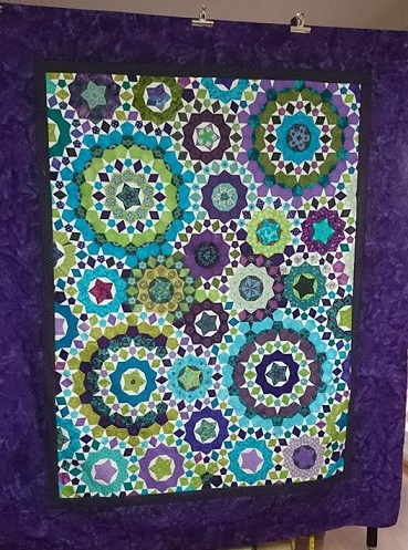 Millefiori quilt purple and green