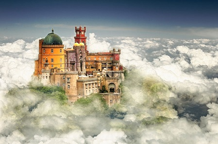 Lisbon pena palace 3 clouds