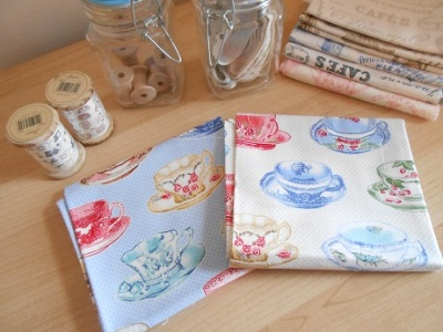 Tea cup theme fabric 1