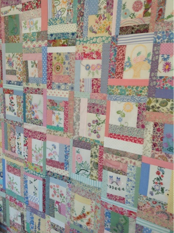 Hen House vintage embroidey quilt