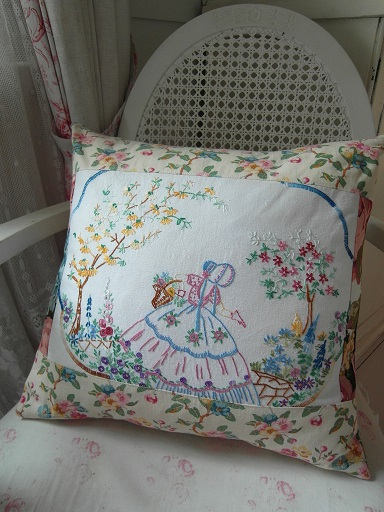 Vintage Crinoline Lady cushion
