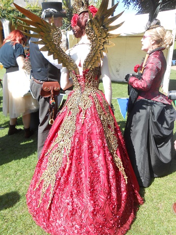 Steampunk red dress with wings 1
