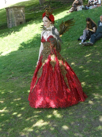 Steampunk red dress with wings 3