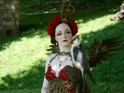 Steampunk red dress with wings 4