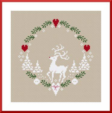 Cross stitch reindeer