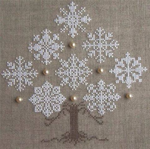Cross stitch snowflake tree on linen