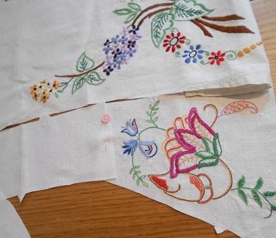 Steampunk linen jacket 16 cut layout closeup