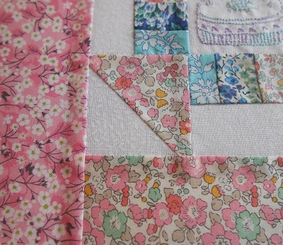 Churn dash and embroidery block 4