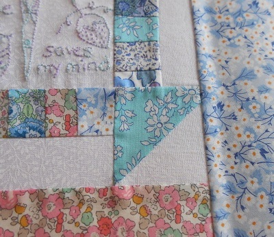 Churn dash and embroidery block 5