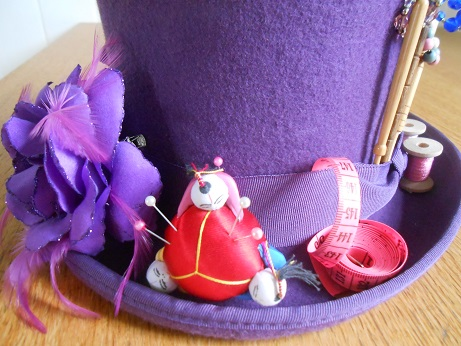 Steampunk purple sewing hat 1