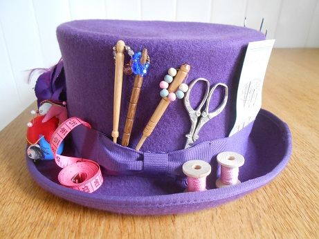 Steampunk purple sewing hat 2