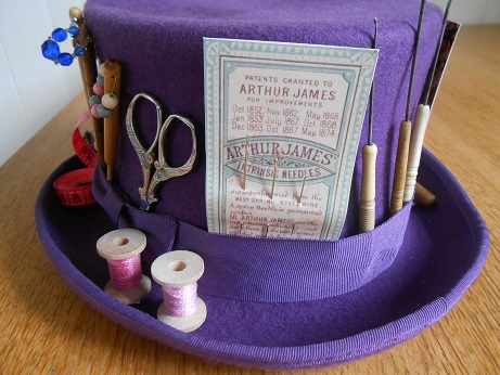 Steampunk purple sewing hat 3