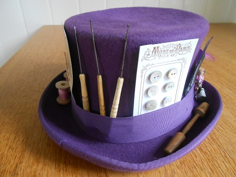 Steampunk purple sewing hat 4