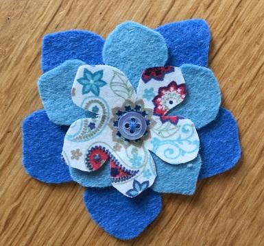 Felt flower blue