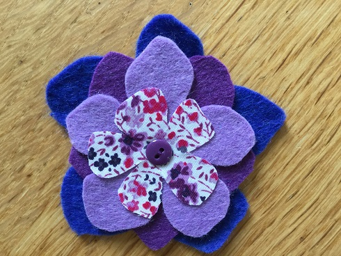 Felt flower purple
