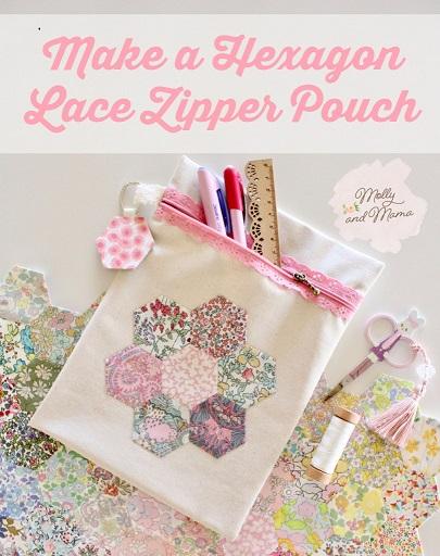 Hexagon-Lace-Zipper-Pouch