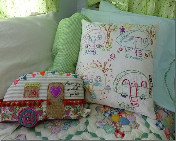 Retro camper van pillows