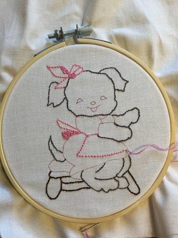 Vintage dog stitching